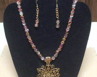 Czech Glass Bead Medallion Necklace and Earring Set