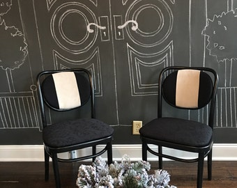 Black  and white painted upholstered bent wood chairs  pair
