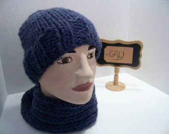 Tuque and cache neck (snood) (child) color Denim #320