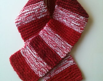 Winter Scarf In Mixed Reds with White.Girls Ages 6-9