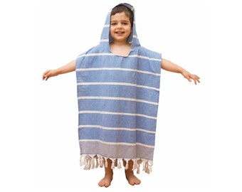 Kids Turkish Towel Poncho - Children Hooded Poncho - Peshtemal, Pestemal Poncho
