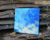 Tableau 'nuages en perspective' bleu - format 20 x 20 cm