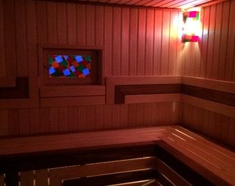 Exclusive sauna lighting - 2 Lamp and stained glass window. Эксклюзивное освещение для сауны - 2 светильника и витраж.