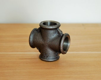 "Cast iron cross black 15 plumbing fitting / 21mm (1/2 "") or 20 / 27mm (3/4"") or 26 / 34mm (1 "")"