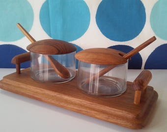 Mid Century Condiment Server- Teak and Glass Condiment Server- Bar Caddy