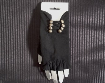 Fingerless Gloves w/Buttons - Black