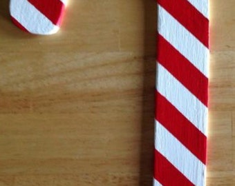 Miniature Wooden Candy Cane Christmas Decoration