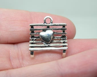 5 Silver Tone Park Bench with a Heart Charms or Pendants. B-012