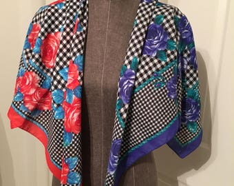 Lot of two vintage scarves! One red black and white, one blue black and white. Both floral. No tag for material or maker!