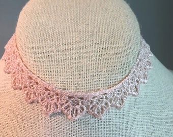 Pastel Pink Scalloped Lace Choker with Adjustable Lobster Clasp Closure