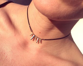 Crystal Rhinestone & Gold Spiked Out Choker Necklace