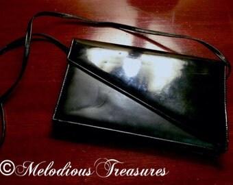 Vintage designer label handbag with long shoulder strap - Black retro evening bag - Sachi Handbag purse