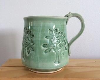 Hand Made  Clay Mug with Tree Design,  Pottery Mug, Clay Mug, Green Glaze