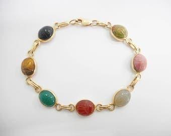 Scarab Bracelet, Scarab Beetle, Egyptian Bracelet, Gold Bracelet, Vintage Bracelet 14k Yellow Gold Egyptian Scarab Beetle Bracelet #2972