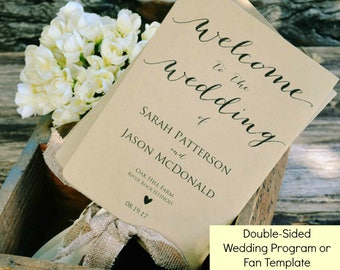 Printable Wedding Ceremony Program, 5x7, Editable Template, Instant Download, DIY Rustic Wedding Program PDF, #WLP175