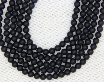 Matte Black Onyx Beads, Black Onyx Round Beads, 4mm 6mm 8mm 10mm 12mm Black Agate beads, Natural Black Mala Beads, Matte Gemstone Beads