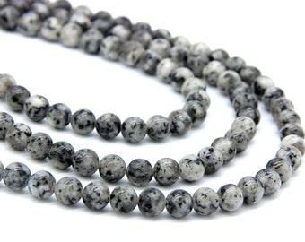 Gray Sesame Jasper Beads 8mm Natural Gray Black Spots Gemstones Beads Mala Beads Mala Necklace Bracelet Beads Gray Jewelry Supplies