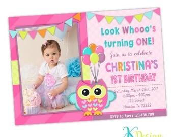 Owl 1st Birthday Invitation, Gilr Invitaton, Birthday Invitation, Owl Invitation, Printable Invitation