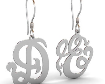 Personalized Monogram Earrings in Sterling Silver Metal, Gold Monogram Earrings, Silver Monogram Earrings, Monogram Jewelry, Valentines Day
