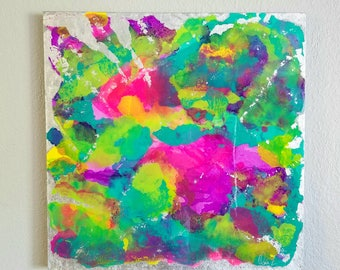 "Abstract Painting with pink, green, purple, silver leaf with Resin coat, 20"" x 20"", 1 CANVAS"