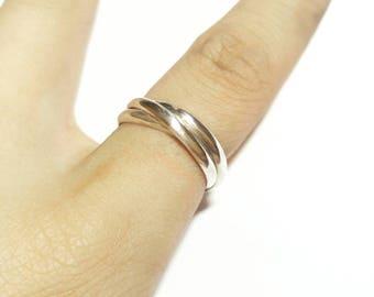 Sterling Silver Trinity Ring, Cartier, Rolling Ring, Three Band Ring