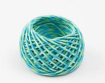 Gift wrapping string, Paper twine, Decorative string, Crafting string, Colorful Paper cord, Blue and Green twine