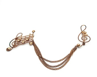 Musical Clef Treble Key Copper metal Brooch Vintage from the 80s Clear Rhinestones Music instruments Piano Player Guitar Violin Trumpet