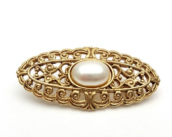 Intricate and Detailed Filigree Gold tone metal Bar Brooch with half Faux Pearl Vintage Victorian Revival Equestrian English Rider Ornament