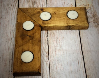 "Reclaimed wood ""L"" shaped Tea Light Holder - Candle Holder - Tealight Holder - Tea light candles -Anniversary Gift -"