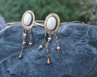 Vintage Brass Beaded Drop Earrings
