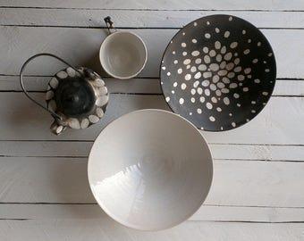 "set ""drops"" | gift set |small kitchen set | teapot | mug | plates | handmade pottery set"