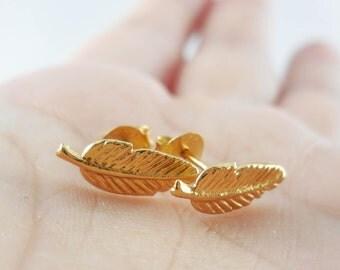 Oxidized 14 K Gold Feather Earrings, 925 Sterling Silver Feather Stud Earrings, Feather Studs, Leaf Studs, Leaf Earring, Feather Jewelry