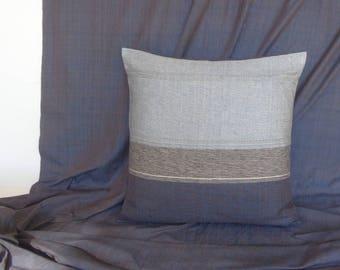 Blue cushion cover, handloom cushion, blue throw pillow, decorative pillow