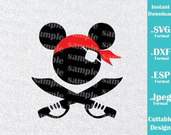INSTANT DOWNLOAD SVG Disney Cruise Inspired Mickey Mouse Pirate Ears for Cutting Machines Svg, Esp, Dxf and Jpeg Format Cricut Silhouette