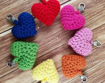Crochet Heart Keychain - Yarn Heart Keychain - Bag Heart Charm