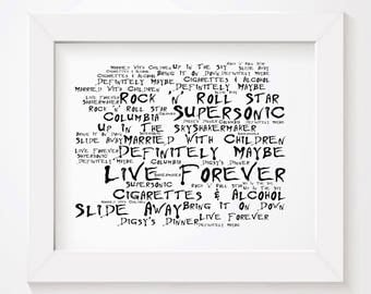 Noir Paranoiac OASIS Art Print Typography Lyrics Poster - Signed & Numbered Limited Edition Unframed 10x8 Inch Album Wall Art Poster
