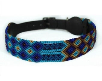 Deep Blue Dog Collar - Blue/Brown
