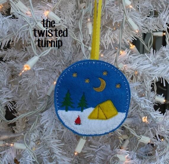 Camping Tent Tents Campfire Night Stars Moon Felt Ornament Embroidery Design Digital Instant Download 4x4 Hoop