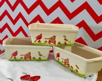 Vintage Mini-Loaf Pans with Hand-Painted Birds, Set of Three Loaf Pans, Vintage Kitchenware, Vintage Bird Kitchen Decor, Nantucket Mini Loaf