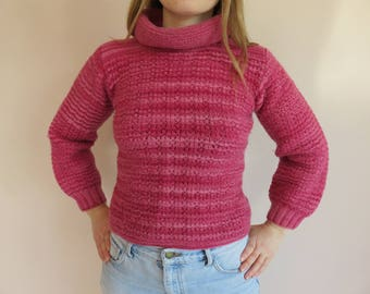 80's Vintage Hand Knitted Pink Wool Jumper / One Off Chunky Knit Turtle Neck Style / Womens Winter Knitwear / Balenciaga-esque / Size 8 Smal