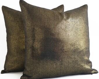 Gold Pillow - Metallic Pillow Cover -Throw Pillow Cover - Linen Gold Neutral Pillow - Solid Gold - Decorative Pillows, Throw Pillows