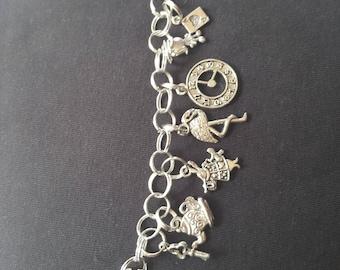 Steampunk Alice in Wonderland Charm Bracelet