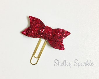Cerise pink glitter bow planner clip, planner paper clip, planner accessories, stationary lovers gift.