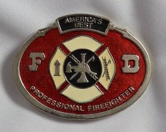 Vintage America's Bravest Firefighters logo Belt Buckle #6056