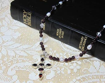 Garnets, Crystals, Freshwater Pearls and a Garnet Sterling Cross Beaded Necklace