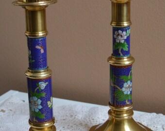 Vintage Cloisonne Candlesticks