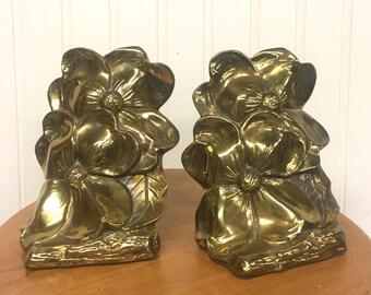 Vintage Brass Dogwood Blossom Bookends PMC