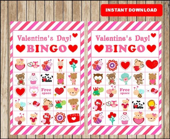printable 10 valentines bingo cards printable valentine bingo game printable classroom valentines bingo instant download - Valentine Bingo Cards