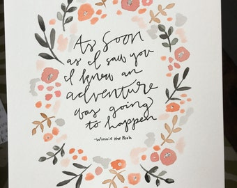 Floral Winnie the Pooh quote