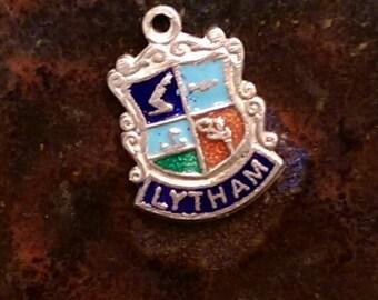 Lytham England vintage sterling enamel travel shield charm pendant or keychaion charm